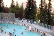 Banff hot springs at sunset