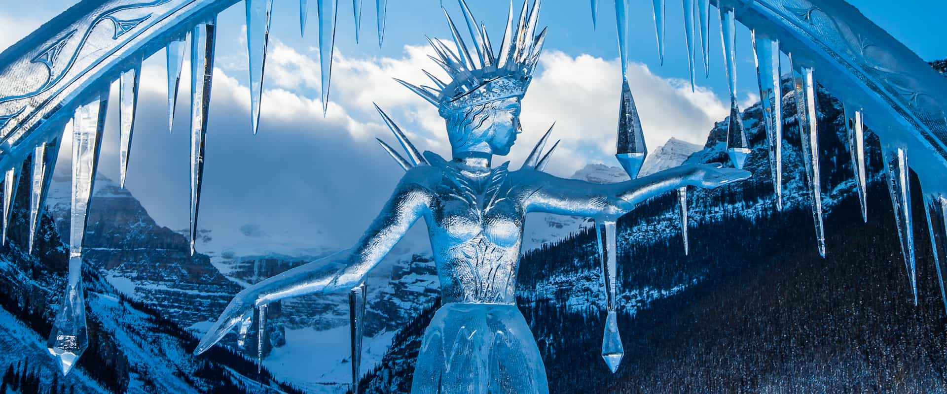 See ice sculptures at Lake Louise during the Ice Magic Festival