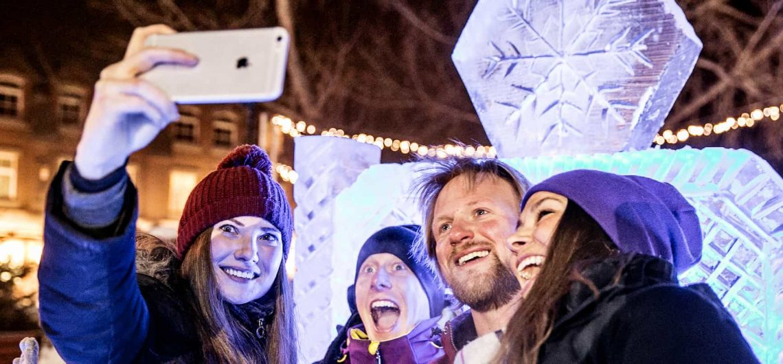 See snow sculptures at the Snow Days Festival in Banff
