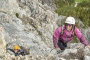 Alpine climbing on Mount Norquay's Via Ferrata Skyline Route in Banff in the Canadian Rockies
