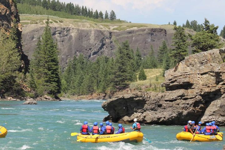 Blue skies for whitewater rafting on the Horseshoe Canyon in the Canadian Rockies