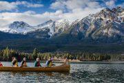 Canoe on Pyramid Lake in Jasper