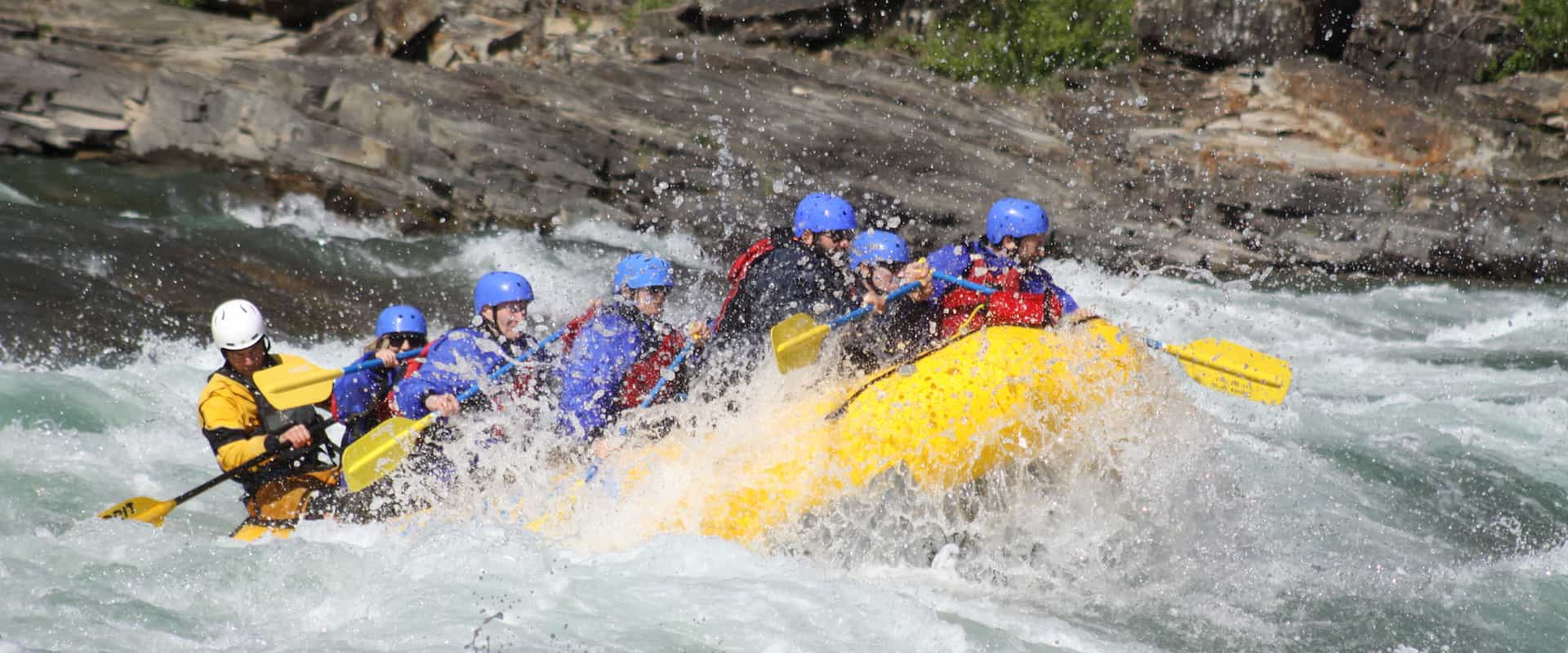 Class 4 rapids on the Horseshoe Canyon in the Canadian Rockies