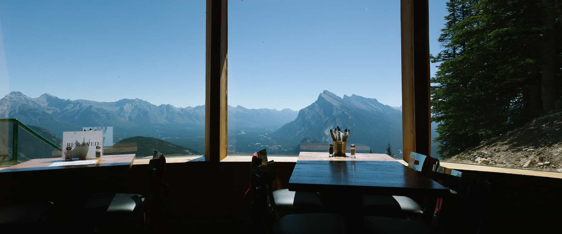 Enjoy mountain views while dining at the Cliffhouse Bistro at Mount Norquay up the Banff Sightseeing Chairlift in Banff in the Canadian Rockies
