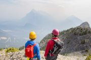 Enjoy panoramnic views on Mount Norquay's Via Ferrata Skyline Route in Banff in the Canadian Rockies