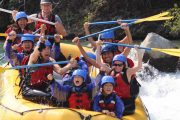 Rafting family day out with the children on the Kananaskis River in the Canadian Rockies