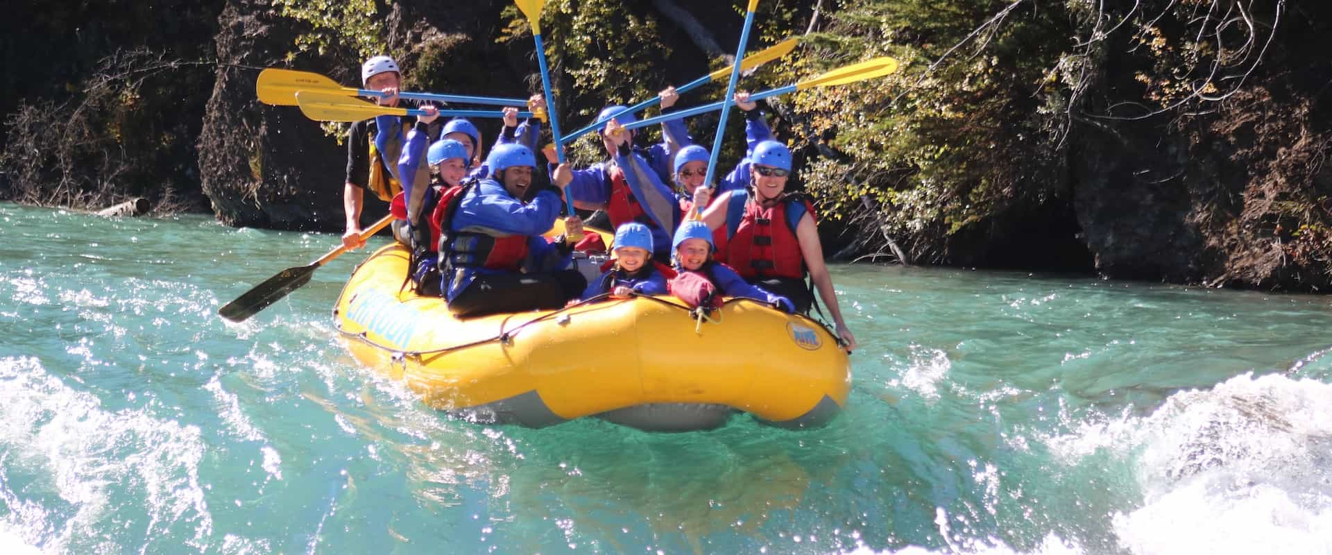 Family friendly rafting rapids on the Kananaskis River in the Rockies