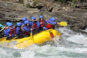 Get splashed by class 4 rafting rapids on the Horseshoe Canyon in the Canadian Rockies