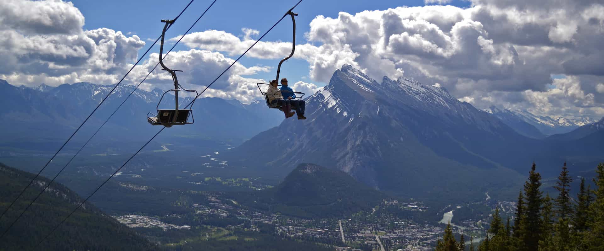 Panoramic views over Banff on the Mount Norquay Banff Sightseeing Chairlift in the Canadian Rockies