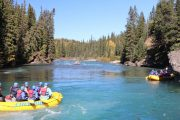 Scenic float section before rafting along the Kananaskis River in the Canadian Rockies