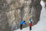 See ancient pictographs on the Grotto Canyon Icewalk with Discover Banff Tours in the Canadian Rockies