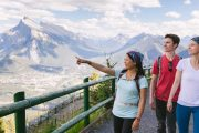 See views over the Bow Valley on the Mount Norquay Banff Sightseeing Chairlift in the Canadian Rockies