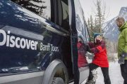 Take a comfortable bus on a winter sightseeing tour with Discover Banff Tours in the Canadian Rockies