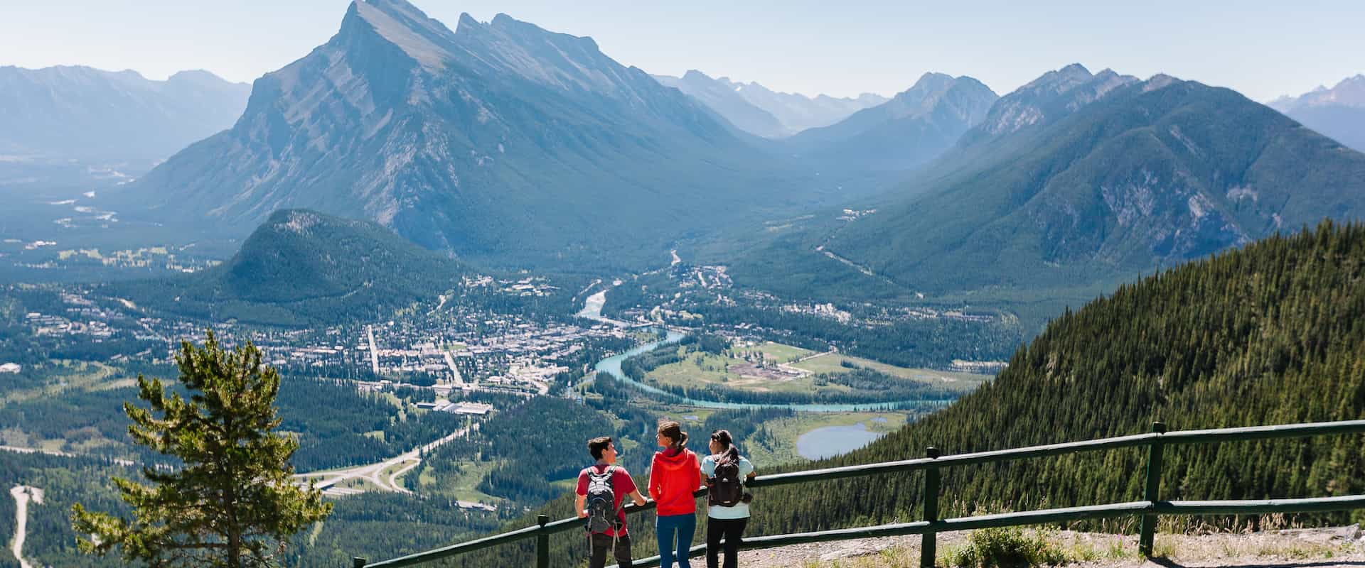 Views over the Bow Valley from the Banff Sightseeing Chairlift at Mount Norquay in Banff in the Canadian Rockies