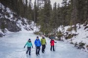 Walk on ice on the Grotto Canyon Icewalk Tour with Discover Banff Tours in the Canadian Rockies