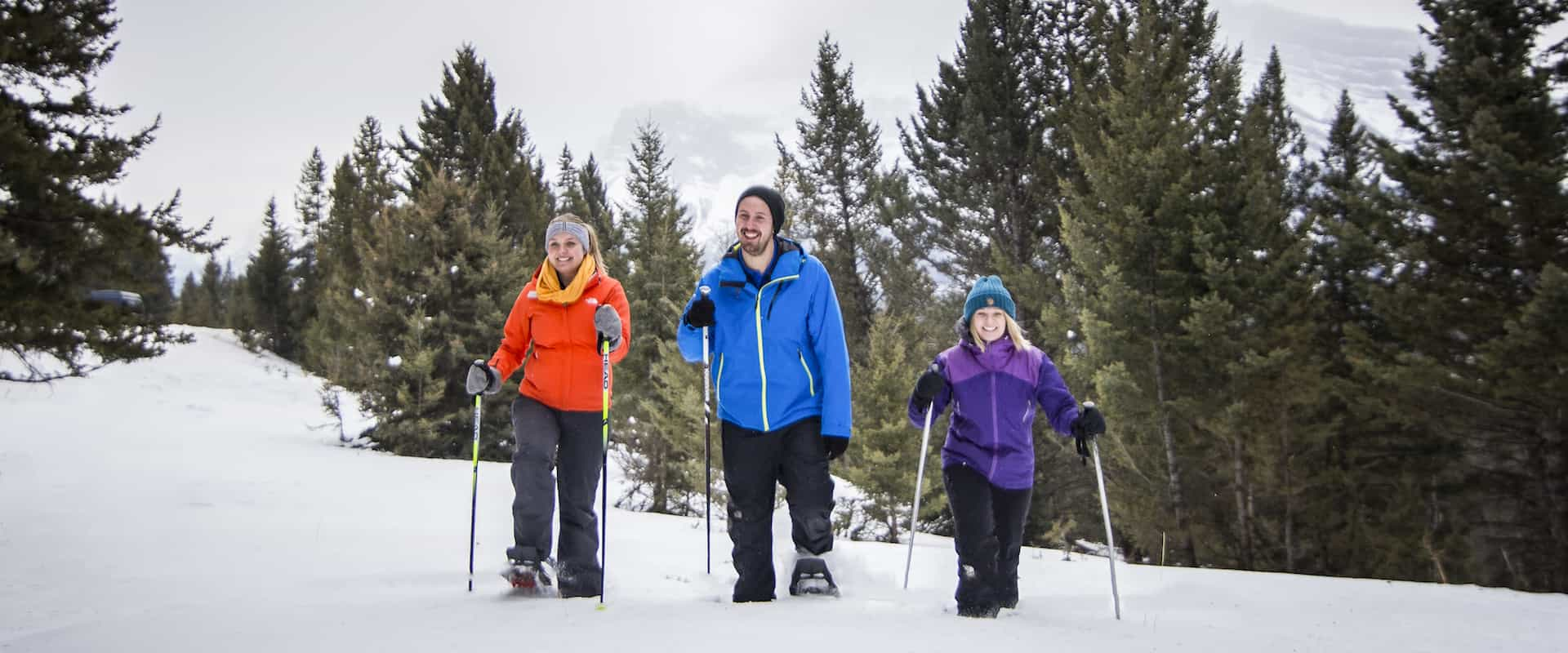 Walk through fresh snow on a Banff snowshoeing tour with Discover Banff Tours in the Canadian Rockies