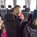 Winter sightseeing in a comfortable sprinter van with Discover Banff Tours