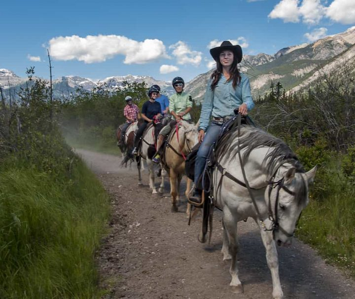 Follow your guide on a scenic Bow River horseback ride with Discover Banff Tours in the Canadian Rockies