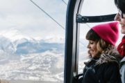 See views over Banff from the gondola cabin at the Banff Gondola