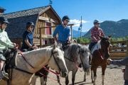 Your friendly guide will give you a brief riding instruction before your horseback ride with Discover Banff Tours in the Canadian Rockies