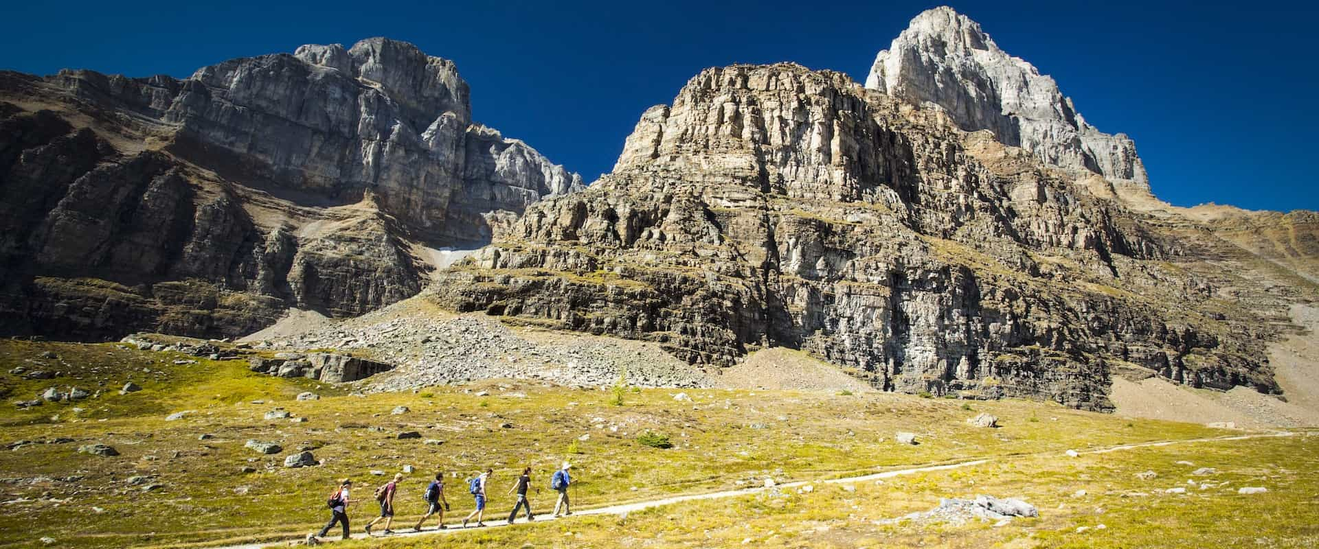 See mountain peaks on a guided hike to Larch Valley with Discover Banff Tours