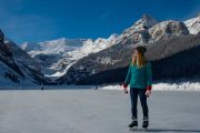 Be awed by the beauty of ice skating at Lake Louise on the Discover Lake Louise winter tour with Discover Banff Tours in the Canadian Rockies