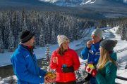 Enjoy hot chocolate and cookies on the Discover Lake Louise winter tour with Discover Banff Tours in the Canadian Rockies