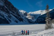 Take a walk along the Lake Louise shoreline trail on the Discover Lake Louise winter tour with Discover Banff Tours in the Canadian Rockies