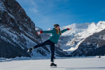 Try ice skating on a frozen lake on the Discover Lake Louise winter tour with Discover Banff Tours in the Canadian Rockies