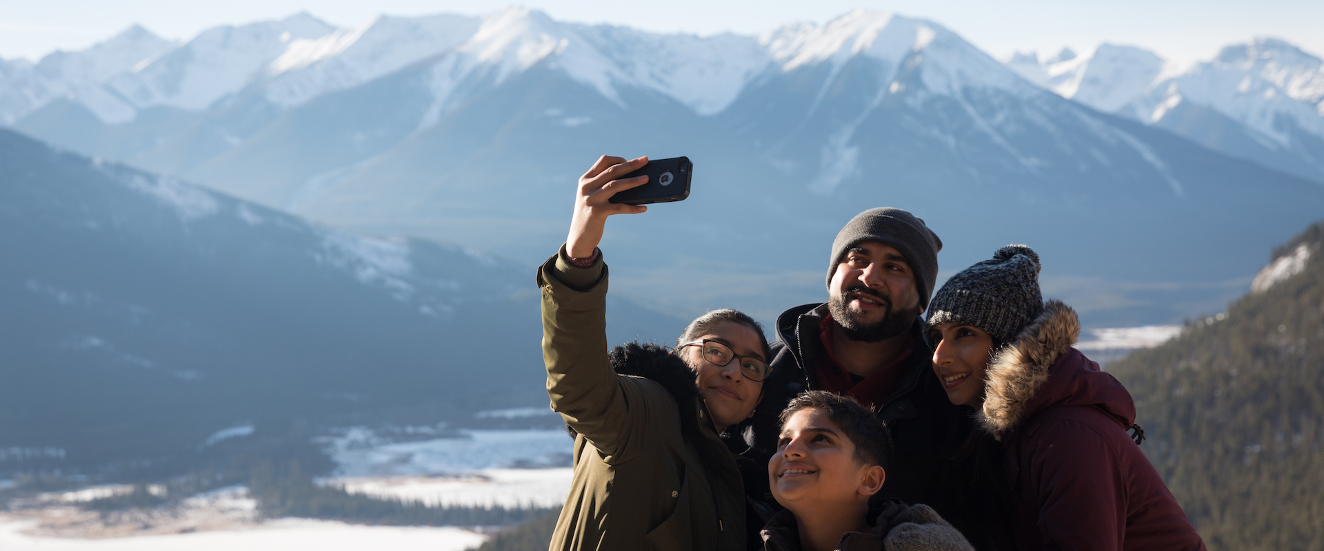 Winter family sightseeing in Banff
