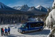 Your guide will show you beautiful sightseeing spots along the Bow Valley Parkway such as Morant's Curve on the Discover Lake Louise winter tour with Discover Banff Tours in the Canadian Rockies