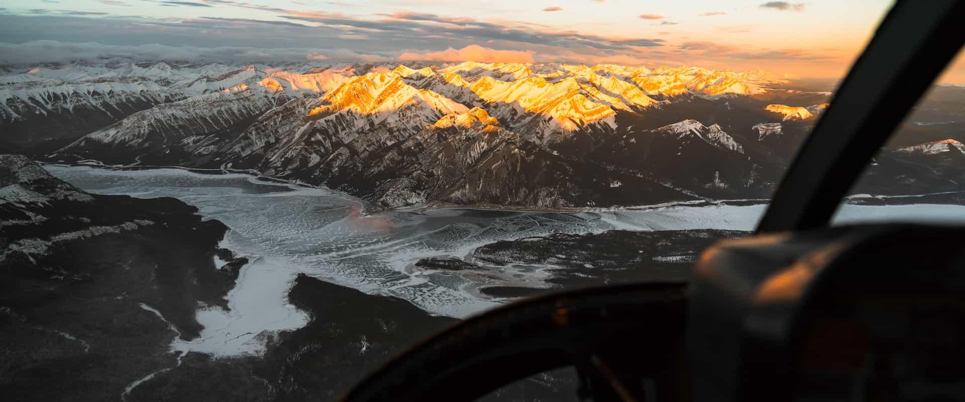 Abraham Lake winter helicopter flight