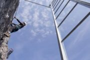 Via Ferrata ladder climb at Mt Norquay in Banff