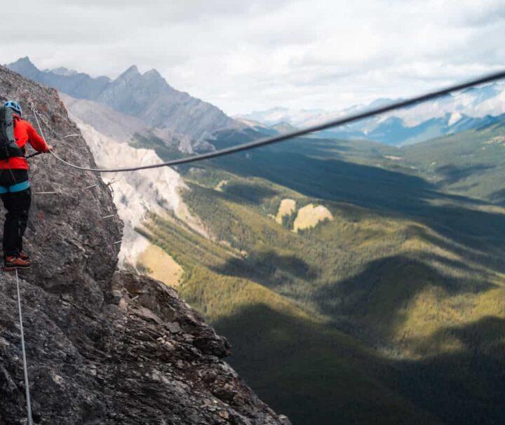 Via Ferrata three wire bridge on the Mountaineer Route in Banff